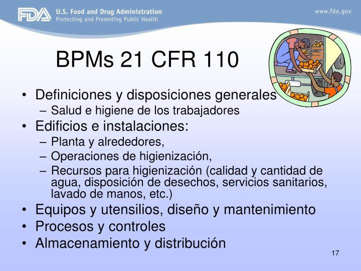 BPMs 21 CFR 110