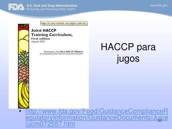HACCP para jugos