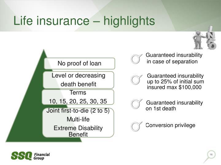 Life insurance – highlights