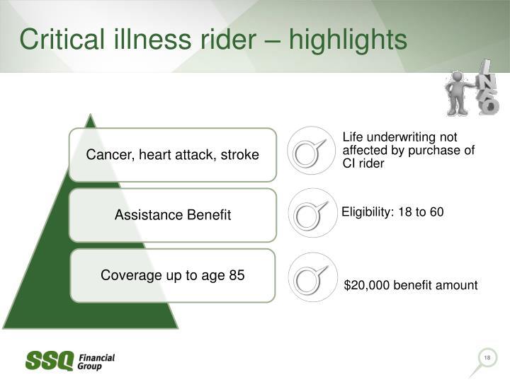 Critical illness rider – highlights