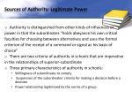 sources of authority legitimate power