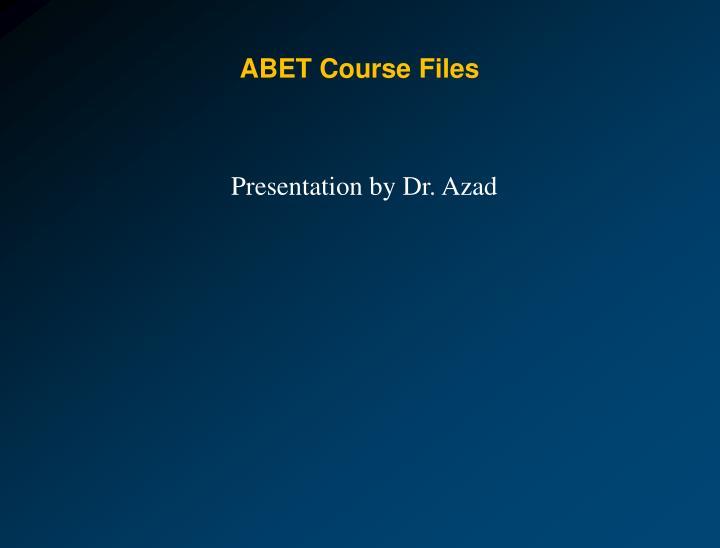 ABET Course Files
