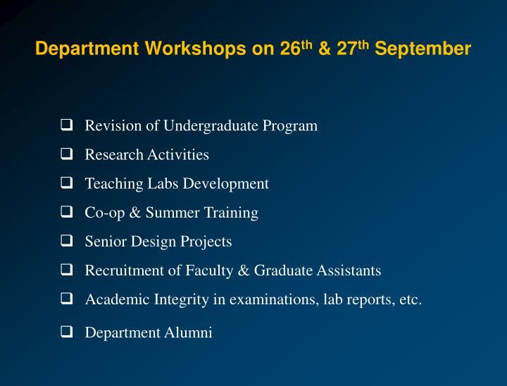 Department Workshops on 26