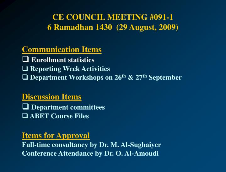 CE COUNCIL MEETING #091-1
