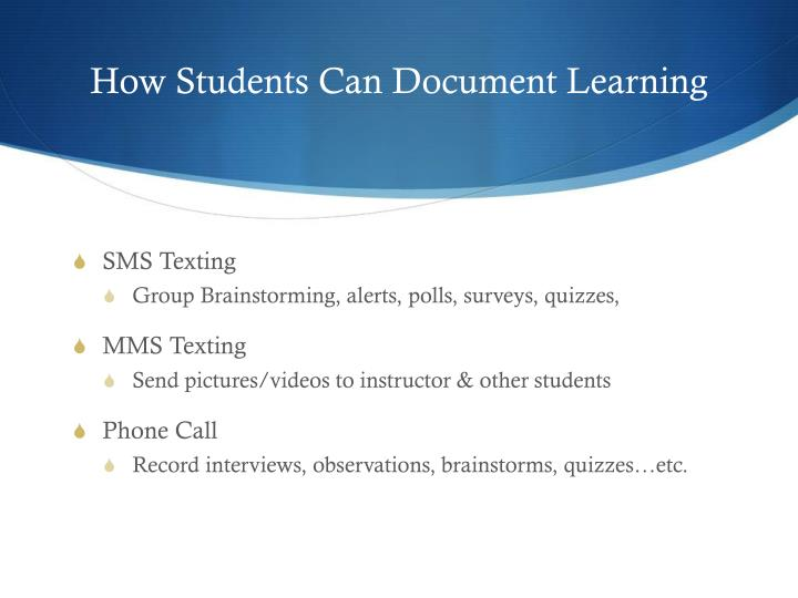 How Students Can Document Learning