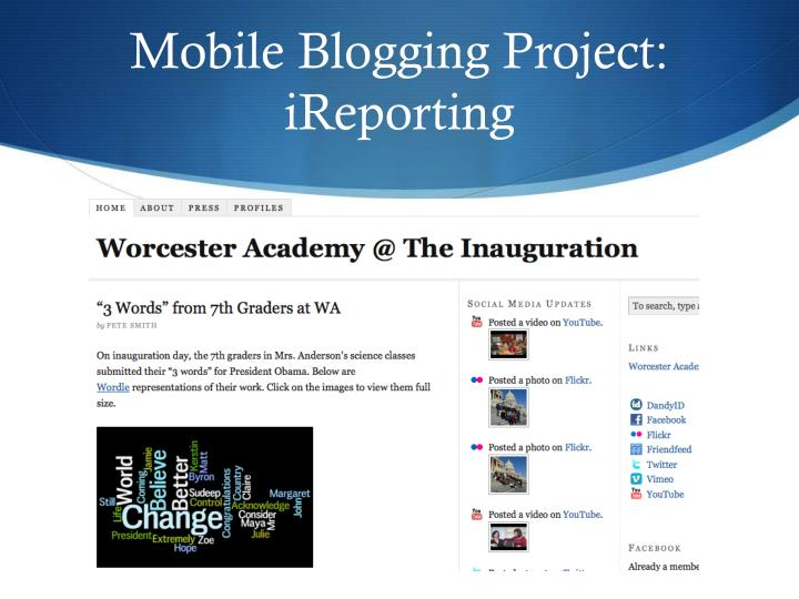 Mobile Blogging Project:  iReporting