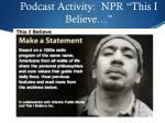 podcast activity npr this i believe