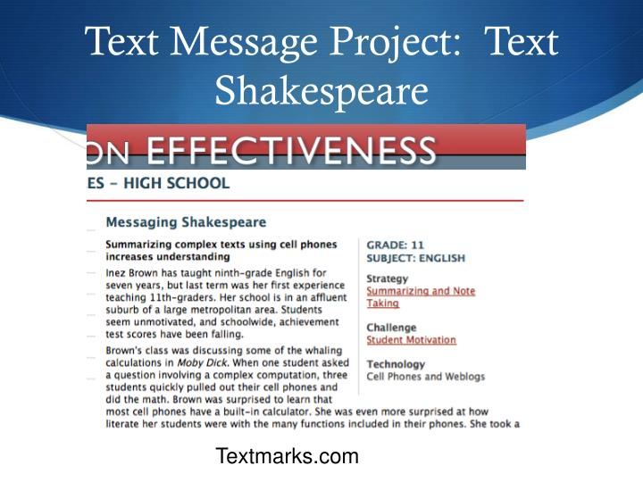 Text Message Project:  Text Shakespeare