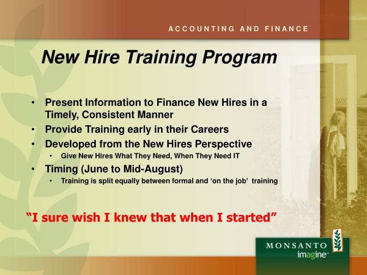 New Hire Training Program