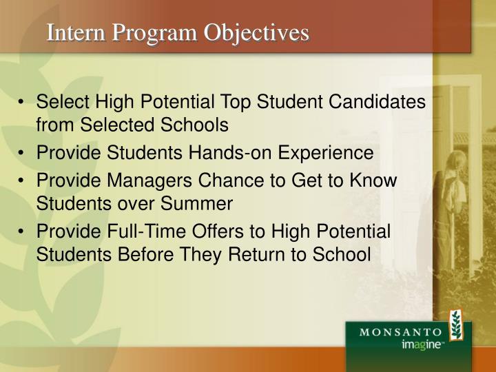 Intern Program Objectives