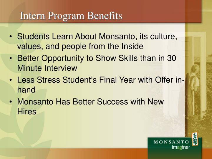 Intern Program Benefits