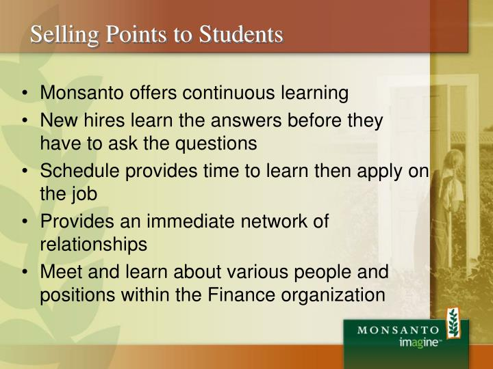 Selling Points to Students