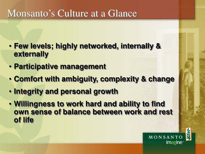 Monsanto's Culture at a Glance