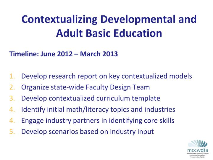 Contextualizing Developmental and Adult Basic Education