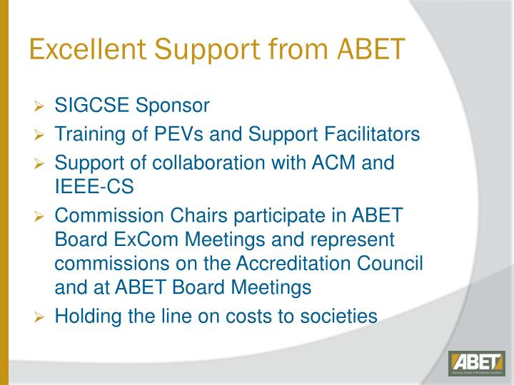 Excellent Support from ABET