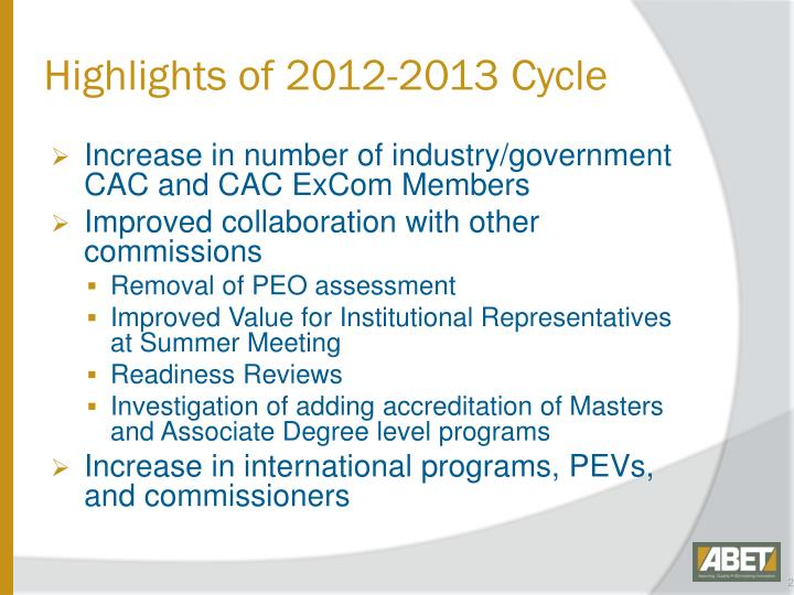 Highlights of 2012-2013 Cycle