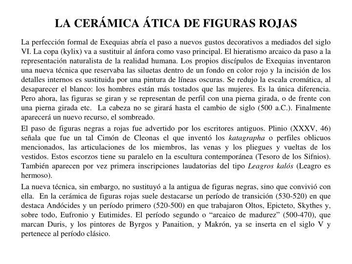 LA CERÁMICA ÁTICA DE FIGURAS ROJAS