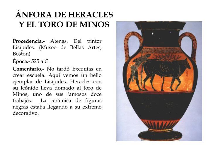 ÁNFORA DE HERACLES Y EL TORO DE MINOS