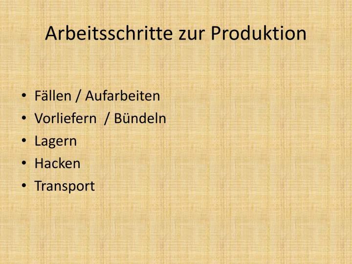 Arbeitsschritte zur Produktion