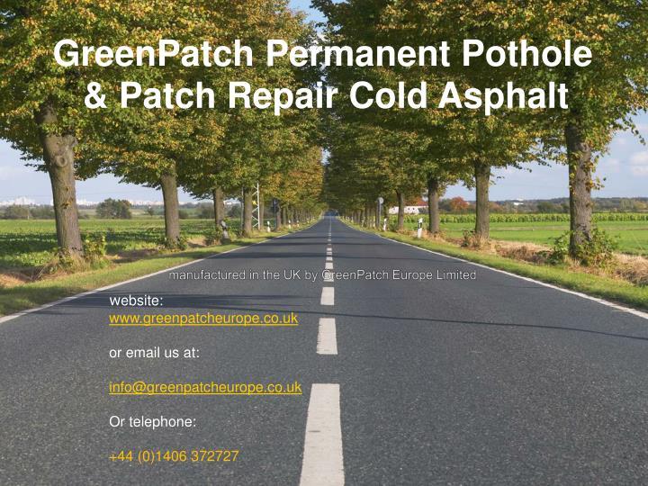 GreenPatch Permanent Pothole
