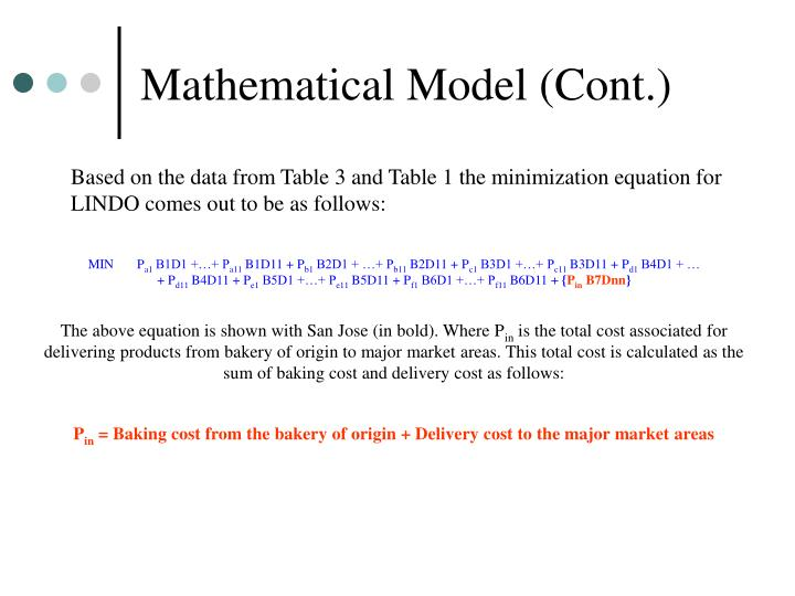 Mathematical Model (Cont.)