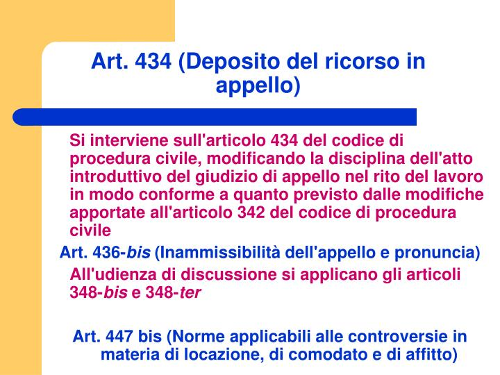 Art. 434 (Deposito del ricorso in appello)