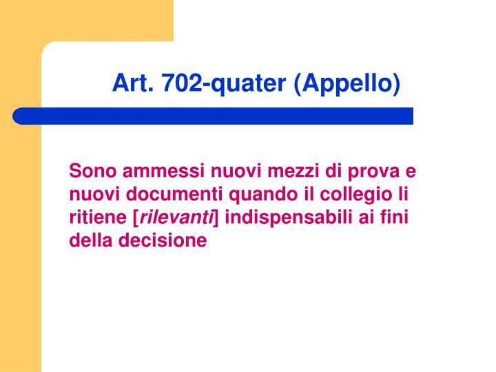 Art. 702-quater (Appello)
