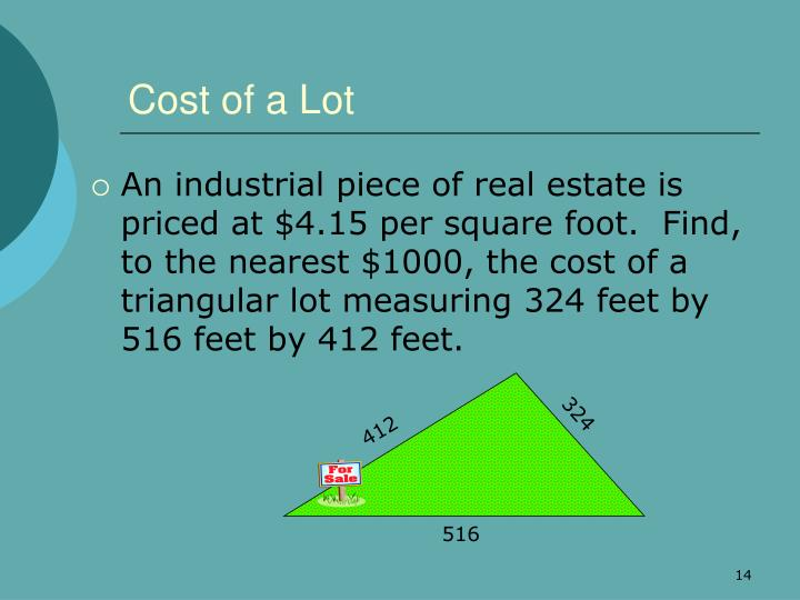 Cost of a Lot