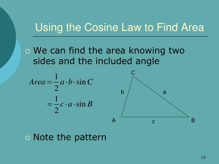 Using the Cosine Law to Find Area