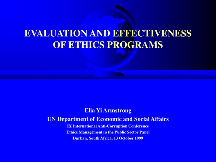 evaluation and effectiveness of ethics programs
