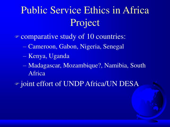 Public Service Ethics in Africa Project
