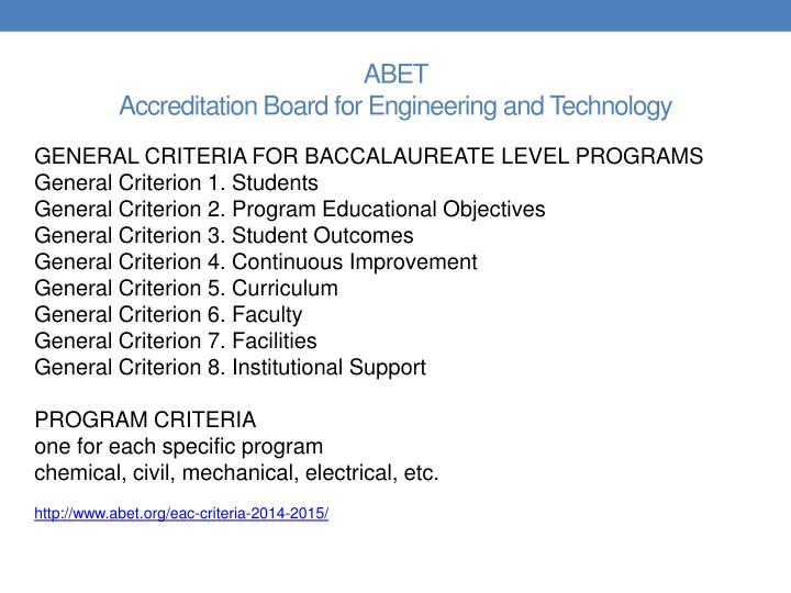 Abet accreditation board for engineering and technology1