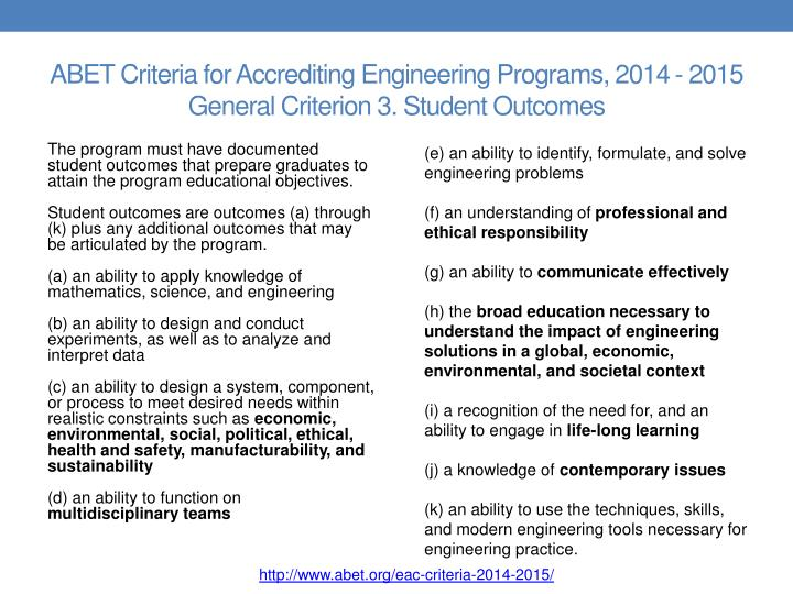 Abet criteria for accrediting engineering programs 2014 2015 general criterion 3 student outcomes