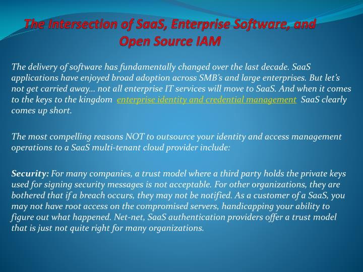 The intersection of saas enterprise software and open source iam
