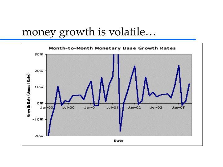 money growth is volatile…