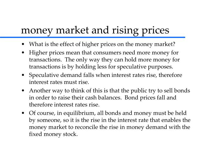 money market and rising prices