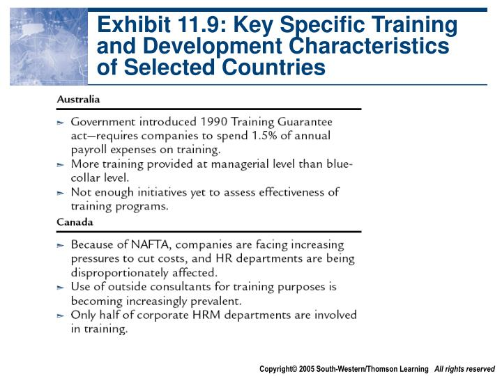 Exhibit 11.9: Key Specific Training and Development Characteristics of Selected Countries