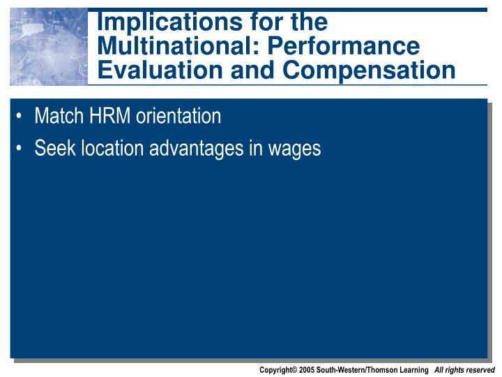 Implications for the Multinational: Performance Evaluation and Compensation