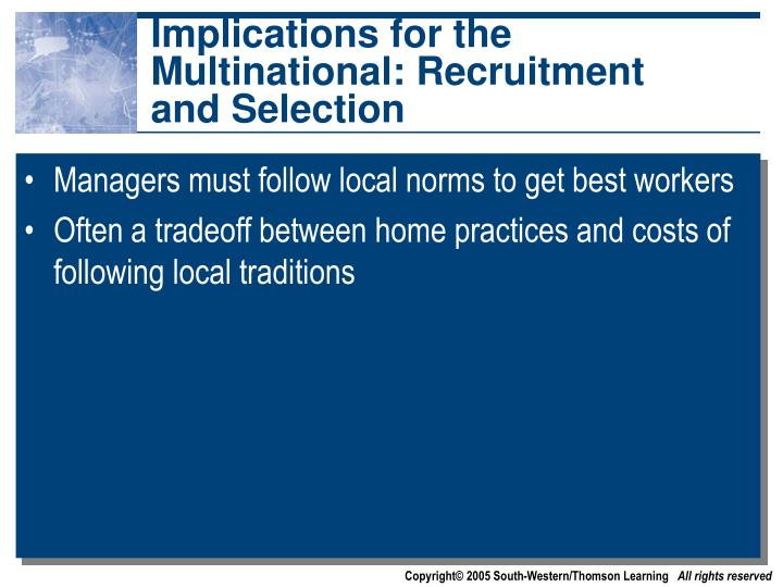 Implications for the Multinational: Recruitment and Selection