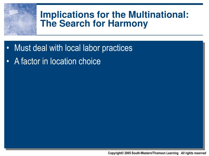 Implications for the Multinational: The Search for Harmony