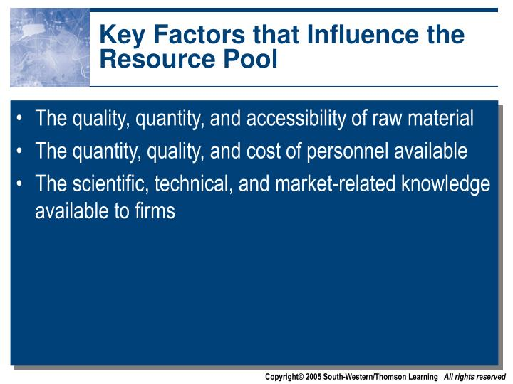 Key Factors that Influence the Resource Pool