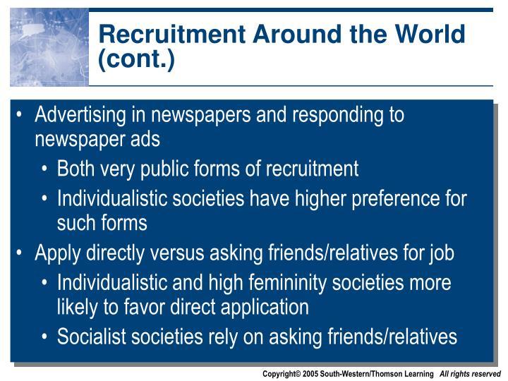 Recruitment Around the World (cont.)