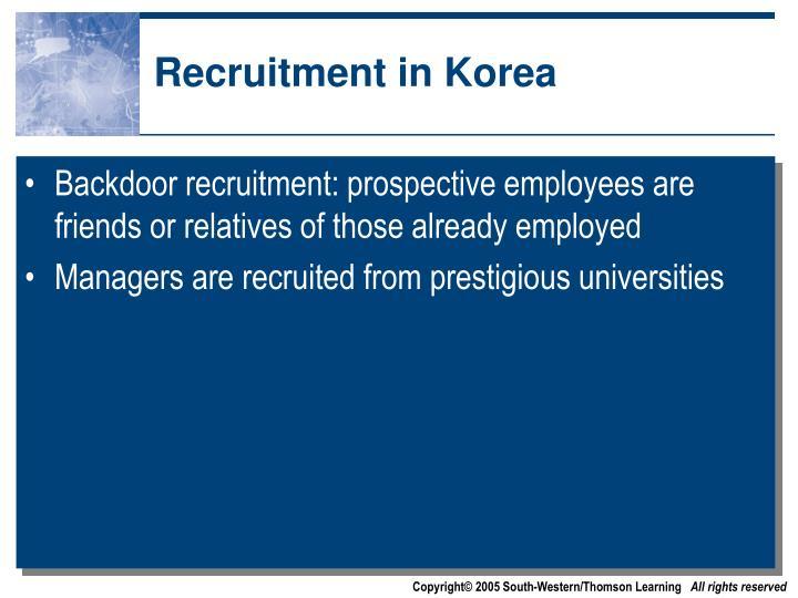 Recruitment in Korea