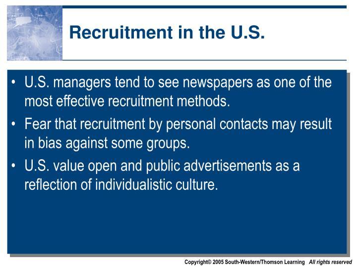 Recruitment in the U.S.