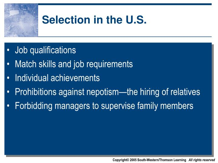 Selection in the U.S.