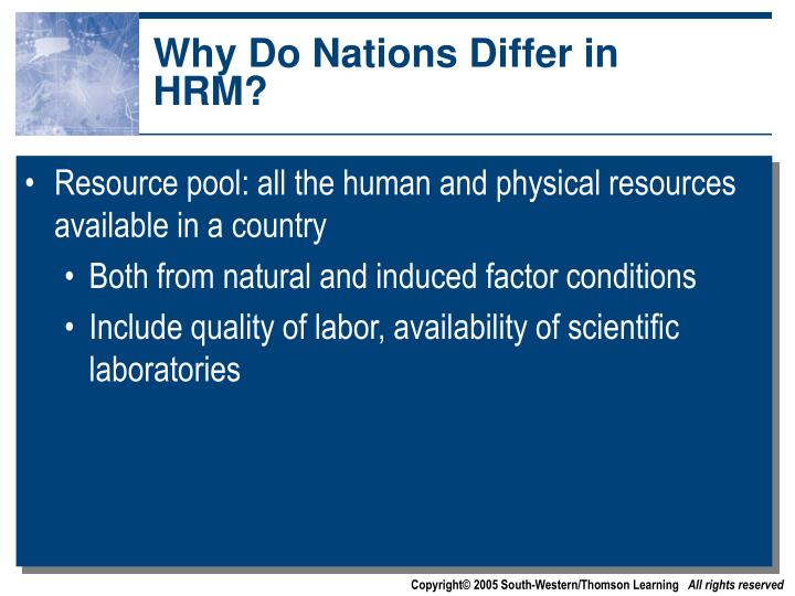 Why Do Nations Differ in HRM?