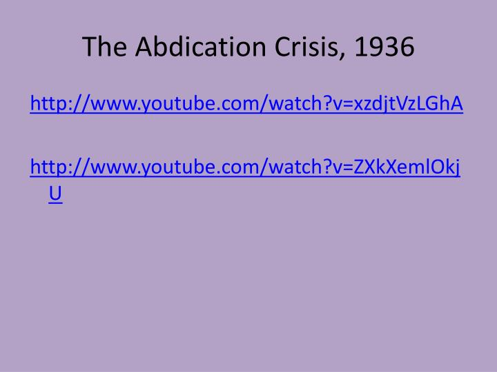 The abdication crisis 1936