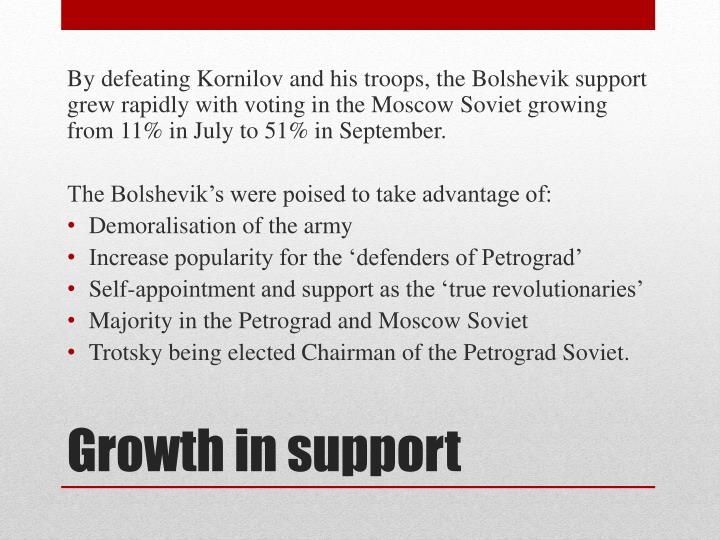 By defeating Kornilov and his troops, the Bolshevik support grew rapidly with voting in the Moscow Soviet growing from 11% in July to 51% in September.