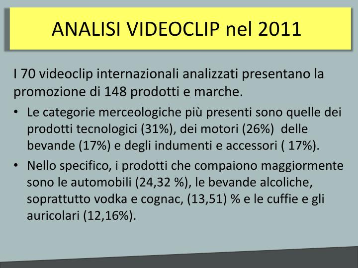 ANALISI VIDEOCLIP nel 2011