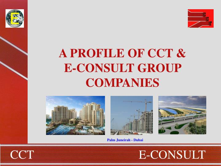 A PROFILE OF CCT & E-CONSULT GROUP COMPANIES